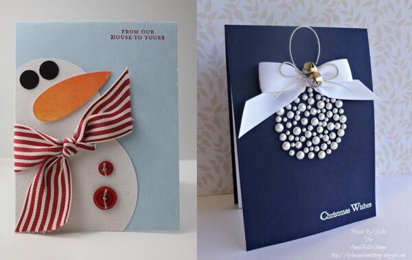 Лесни ръчно изработени картички за Коледа
