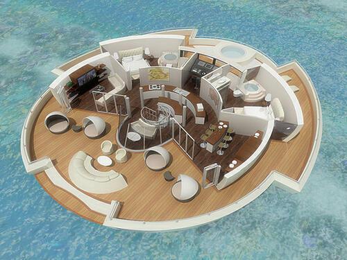 Бъдещето на луксозната почивка - плаващ остров на Малдивите