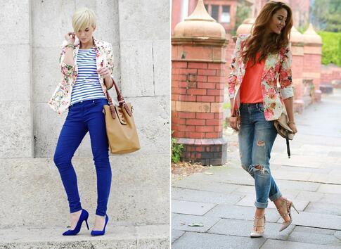 Как се носи яке с флорални мотиви?