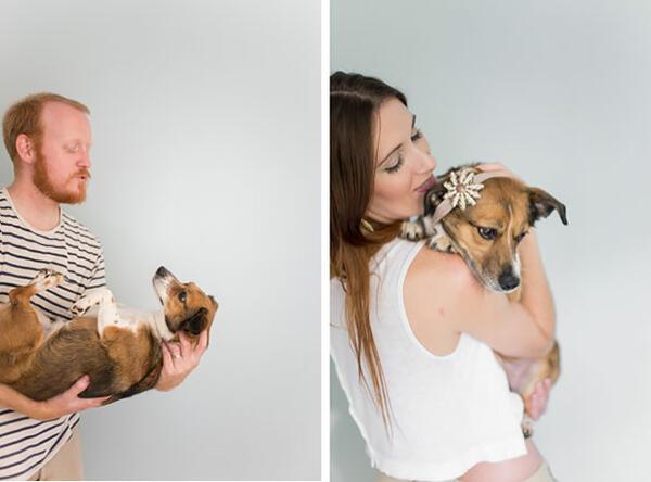 Невероятната фотосесия на една двойка и тяхното малко кученце