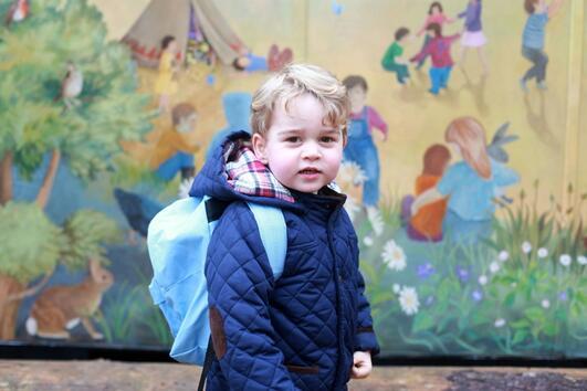 Порасналият принц Джордж тръгна на ясла!