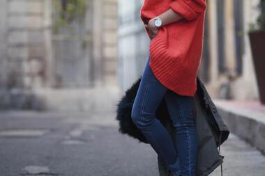 Стилни с пуловер в цвят корал