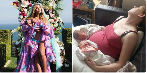 Пародийни снимки на Бионсе с близнаците, показващи, че да имаш две деца не е изобщо лесно