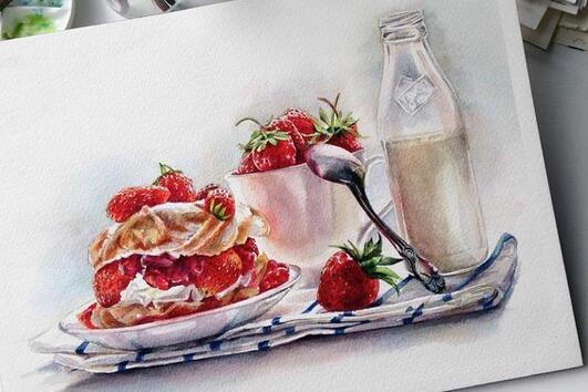 Красиви илюстрации на плодове и сладкиши