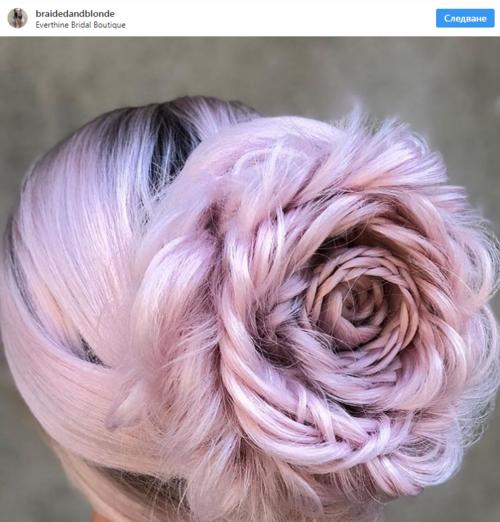 Красива прическа с изплетени рози