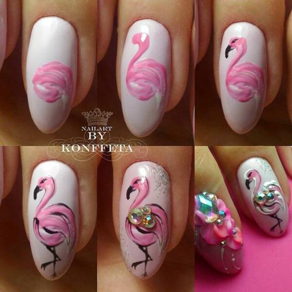 Маникюр с фламинго в стъпки