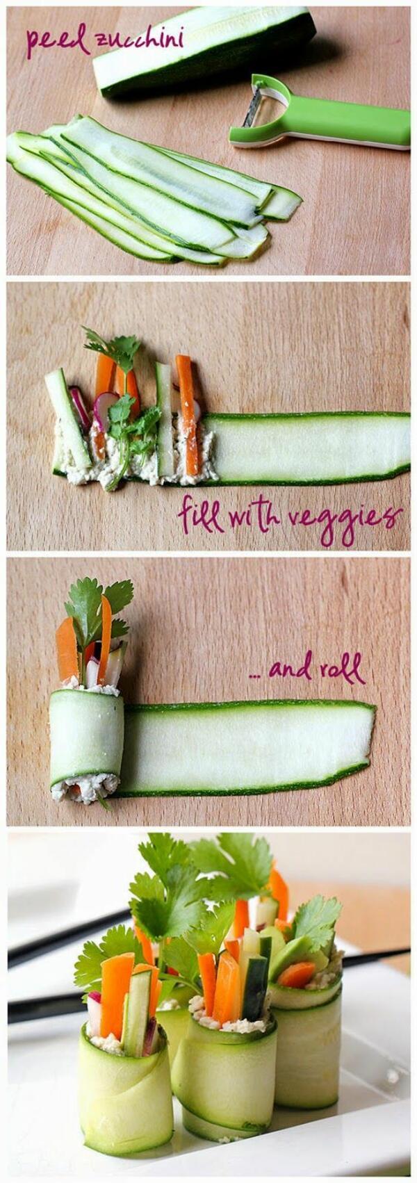Рулца от тиквички със зеленчуци